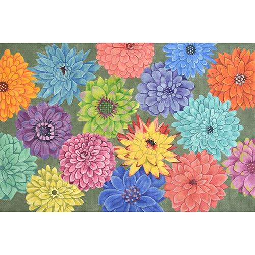 Multi Colored Floral Painted Canvas JP Needlepoint