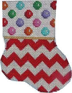 Multi-Dot / Red Chevron Mini Sock Painted Canvas Associated Talents
