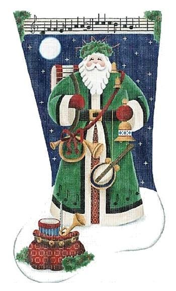 Musical Santa Stocking on 13 Painted Canvas Rebecca Wood Designs