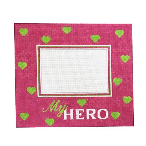 My Hero Pink with Pink Hearts Frame Painted Canvas Pepperberry Designs