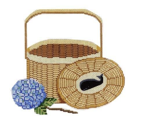 Nantucket Basket with Whale and Hydrangea Painted Canvas CBK Needlepoint Collections