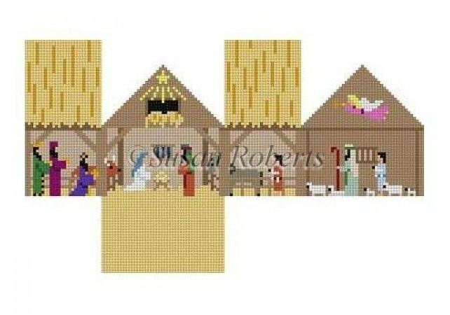 Nativity Mini-House Painted Canvas Susan Roberts Needlepoint Designs Inc.