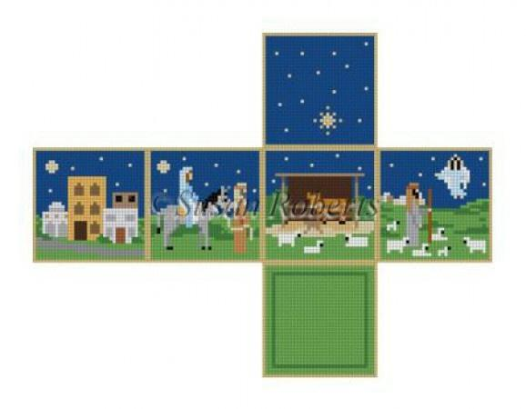 Nativity Stable Cube Painted Canvas Susan Roberts Needlepoint Designs Inc.