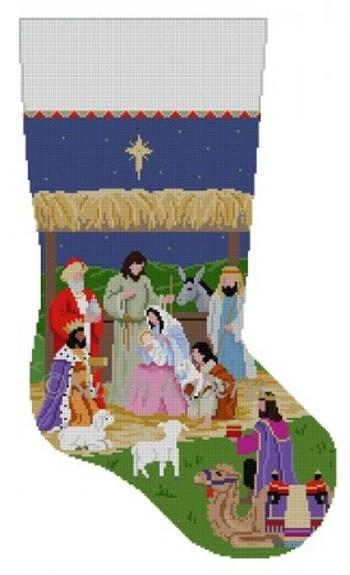 Nativity Stable, Stocking Painted Canvas Susan Roberts Needlepoint Designs Inc.