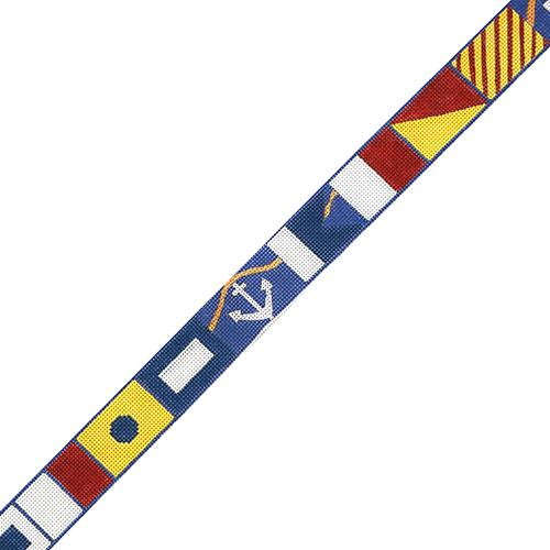 Nautical Flag Alphabet Belt on 18 Painted Canvas The Meredith Collection