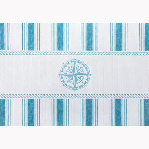 Nautical Pillow - Aqua Compass Painted Canvas Kirk & Bradley