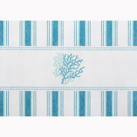 Nautical Pillow - Aqua Coral Painted Canvas Kirk & Bradley
