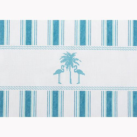 Nautical Pillow - Aqua Palm Tree Painted Canvas Kirk & Bradley