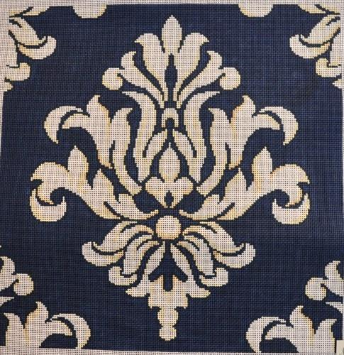 Navy / Cream Damask Painted Canvas Associated Talents