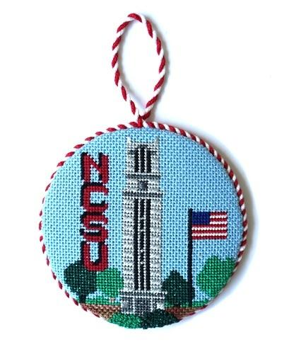 NCSU Bell Tower Round Painted Canvas Kathy Schenkel Designs
