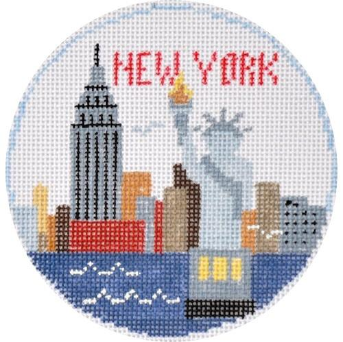 New York Round Painted Canvas Kathy Schenkel Designs