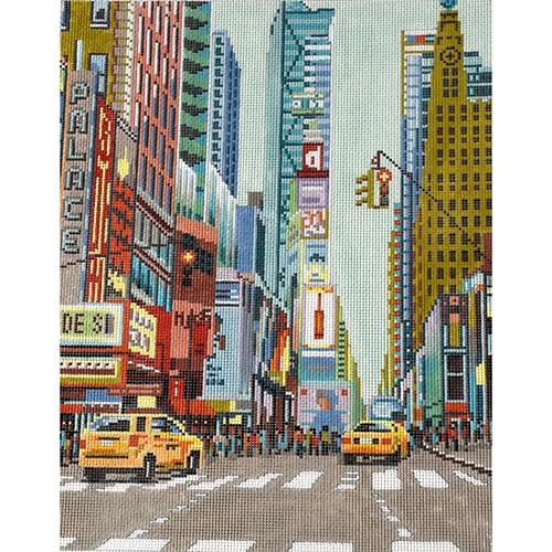 New York Street Scene Painted Canvas The Meredith Collection
