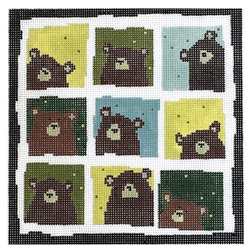 Nine Brown Bears Painted Canvas Pippin