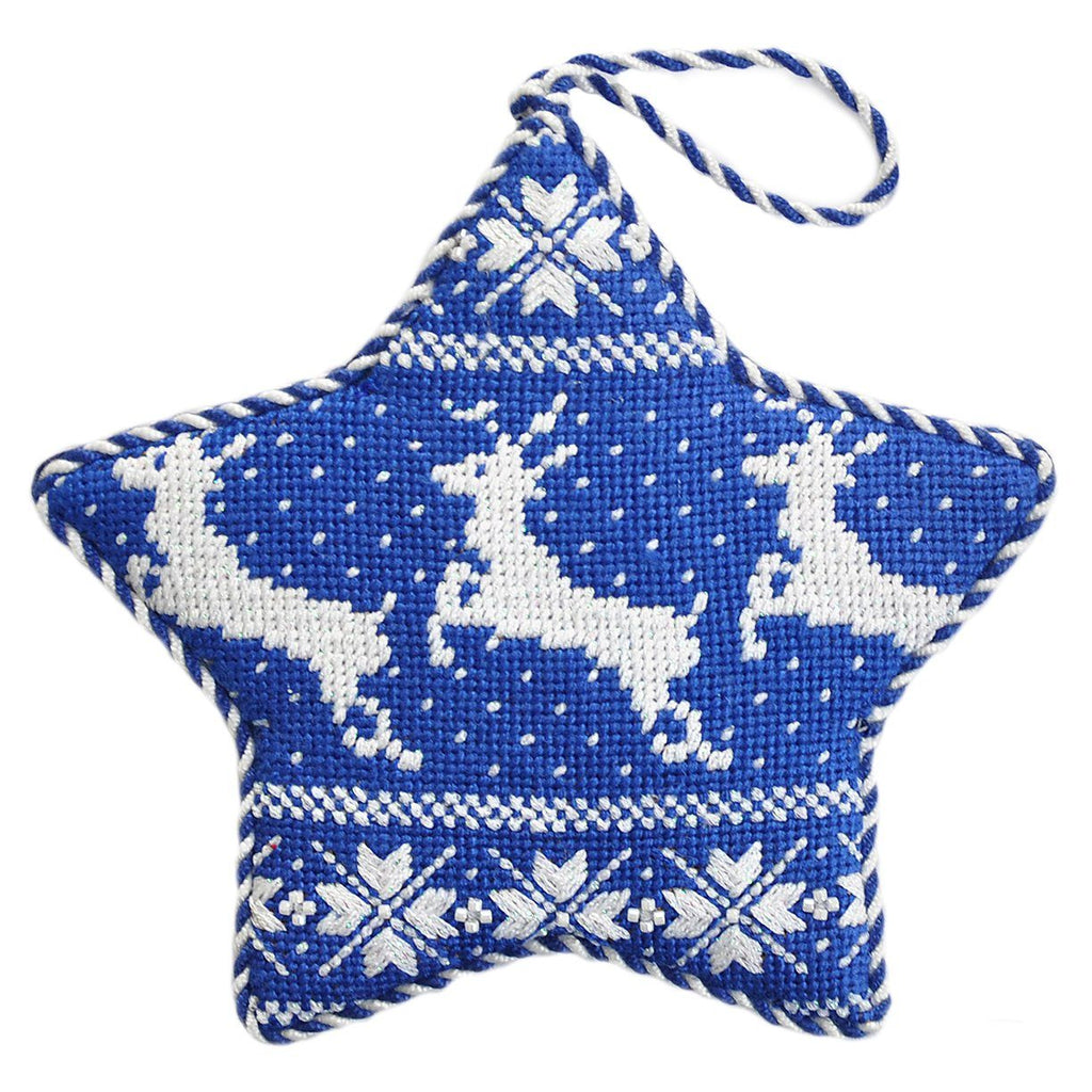 Nordic Reindeer Xmas Star Navy Painted Canvas Kirk & Bradley