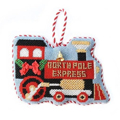 North Pole Express Ornament with Stitch Guide Painted Canvas Needlepoint.Com