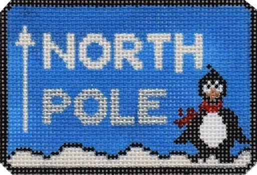 North Pole Sign Painted Canvas Pippin