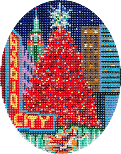 NYC Rockefeller Ornament Painted Canvas DJ Designs