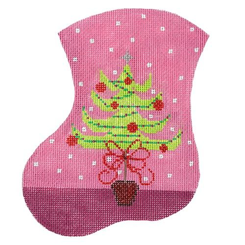 Oh, Pink Christmas Tree Mini Stocking Painted Canvas The Meredith Collection