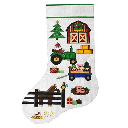 Old McSanta Farm Stocking Painted Canvas The Meredith Collection