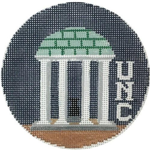 Old Well UNC Round Painted Canvas Kathy Schenkel Designs
