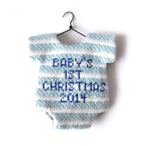 Onesie Baby Blue Ornament Painted Canvas Kimberly Ann Needlepoint