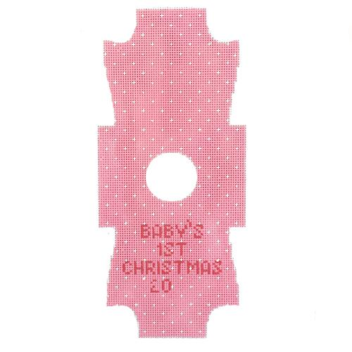 Onesie Baby Pink Ornament Painted Canvas Kimberly Ann Needlepoint