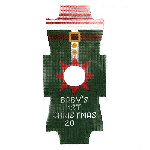 Onesie Elf Ornament Painted Canvas Kimberly Ann Needlepoint