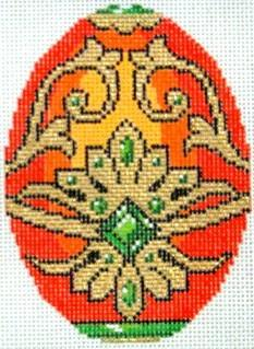 Orange Faberge Egg Painted Canvas Lee's Needle Art Inc.