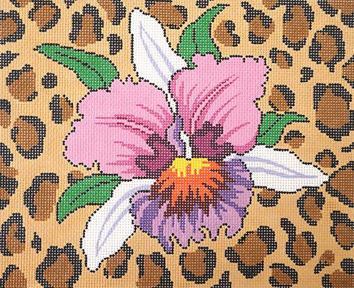 Orchid Animal Skin Painted Canvas Lee's Needle Art Inc.