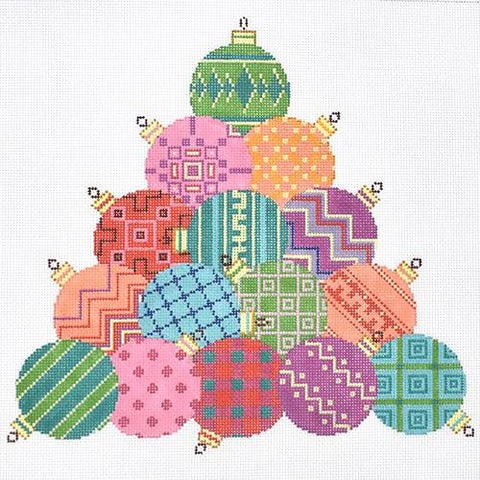 """Puppy Dog Adorable Design handpainted Needlepoint Canvas 3/"""" Rd Ornament by LEE"""