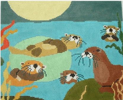 Otter Romp Painted Canvas Birds of a Feather