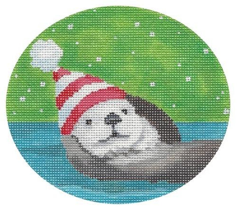 Otters Christmas Painted Canvas Scott Church Creative