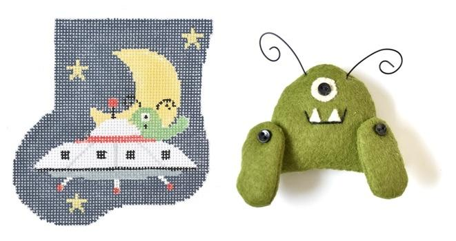 Outer Space Mini-Sock with Alien Insert Painted Canvas Kathy Schenkel Designs