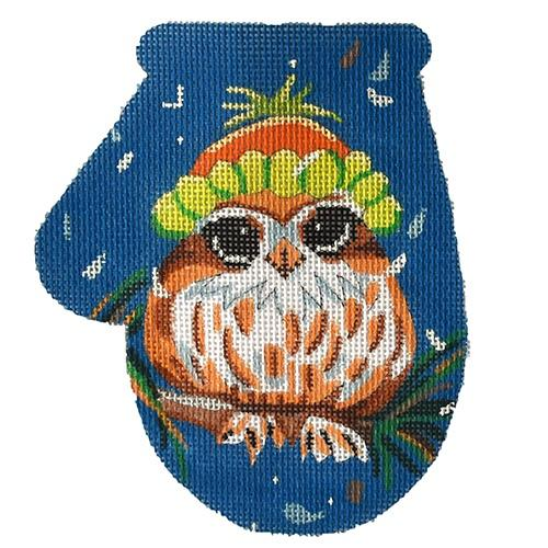Owl with Hat Mitten Painted Canvas PLD Designs