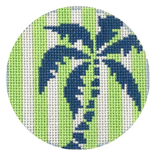 Palm Tree on Green Stripes Painted Canvas Two Sisters Needlepoint