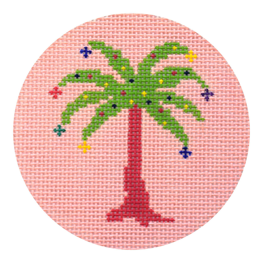 Palm Tree on Pink Ornament Painted Canvas Voila!