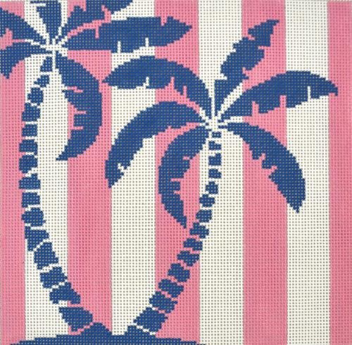 Palm Tree on Pink Stripes Painted Canvas Two Sisters Needlepoint