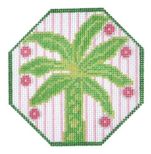 Palm Tree Painted Canvas Two Sisters Needlepoint