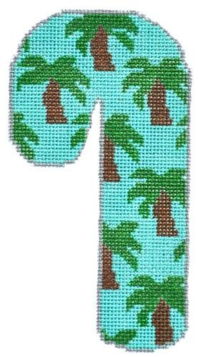 Palm Trees Candy Cane Painted Canvas Danji Designs