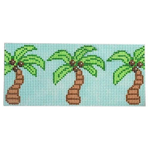 Palm Trees on Blue Painted Canvas Two Sisters Needlepoint