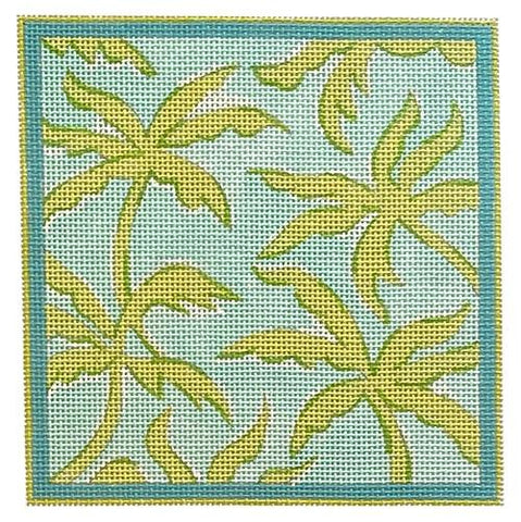 Palms - Turquoise and Greens Painted Canvas Kate Dickerson Needlepoint Collections