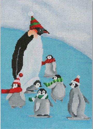 Papa Penguin with Babies Painted Canvas Scott Church Creative