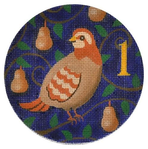 Partridge in a Pear Tree Painted Canvas Julie Mar Needlepoint Designs