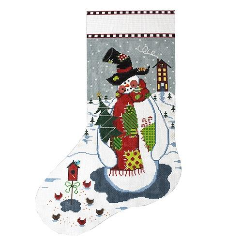 Patchwork Snowman Painted Canvas The Meredith Collection