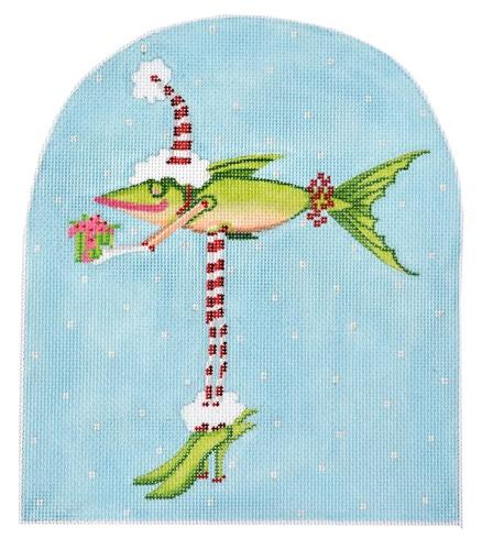 Patience Brewster Christmas Fish in Heels Painted Canvas Kate Dickerson Needlepoint Collections