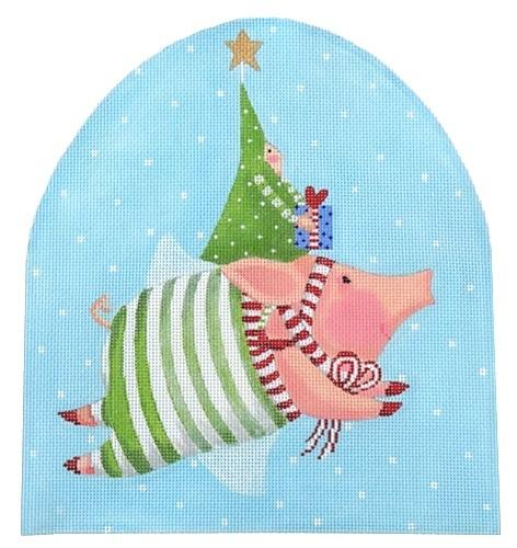 Patience Brewster Joyful Flying Pig Painted Canvas Kate Dickerson Needlepoint Collections