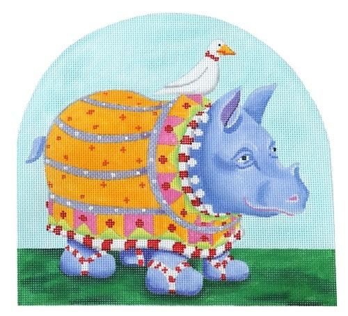 Patience Brewster Ralph Rhino Painted Canvas Kate Dickerson Needlepoint Collections