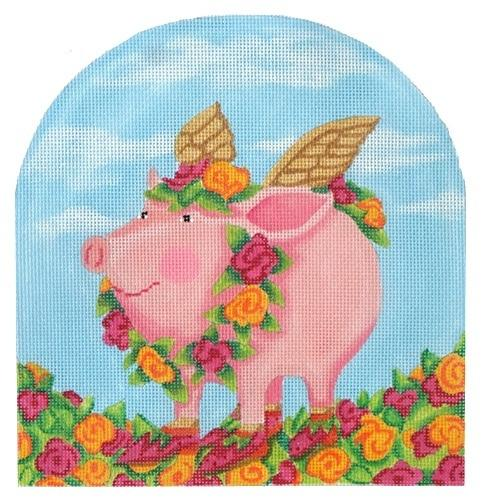 Patience Brewster Rose Flying Pig Painted Canvas Kate Dickerson Needlepoint Collections
