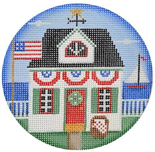 Patriotic cottage ornament Painted Canvas Rebecca Wood Designs
