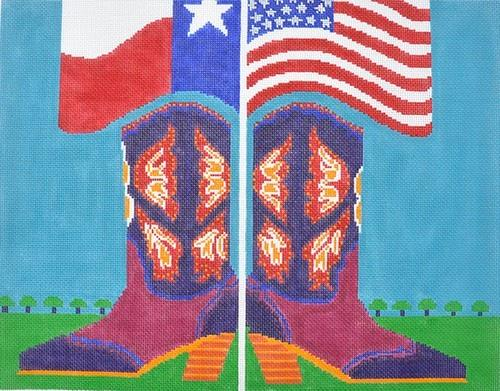 Patriotic Cowgirl Painted Canvas CBK Needlepoint Collections